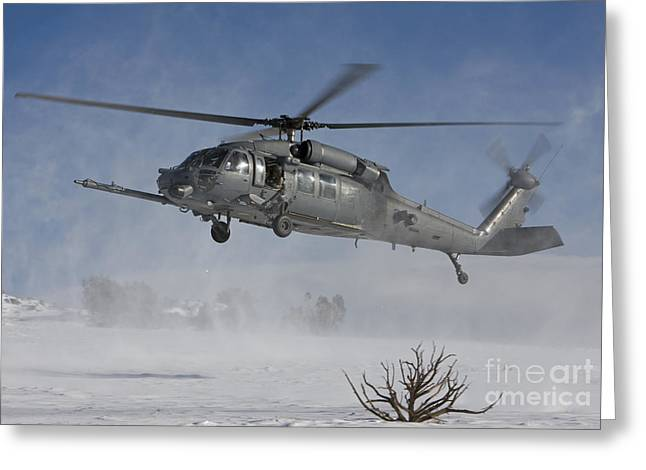 Snow On The Ground Greeting Cards - An Hh-60g Pave Hawk Flys Low Greeting Card by HIGH-G Productions