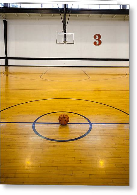 Sports Equipment Greeting Cards - An Indoor Sports Venue. Basketball Greeting Card by Christian Scully
