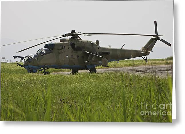 Airfield Greeting Cards - An Mi-35 Attack Helicopter At Kunduz Greeting Card by Terry Moore