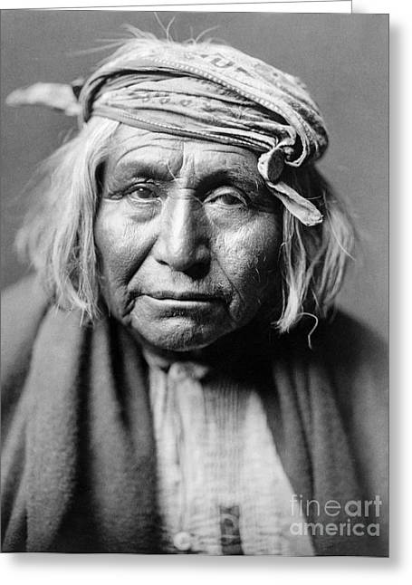 American Indian Portrait Greeting Cards - APACHE MAN, c1906 Greeting Card by Granger