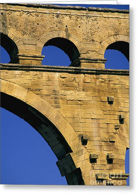 Touristy Greeting Cards - Aqueduc du Pont du Gard.Provence Greeting Card by Bernard Jaubert