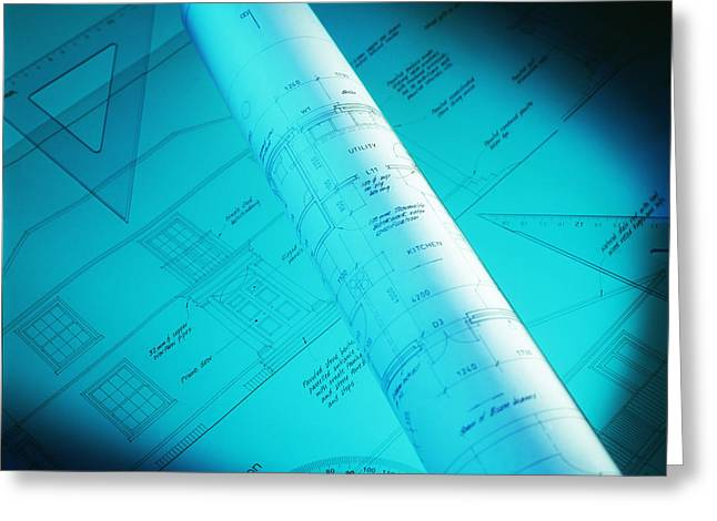 Technical Photographs Greeting Cards - Architectural Drawings Greeting Card by Tek Image