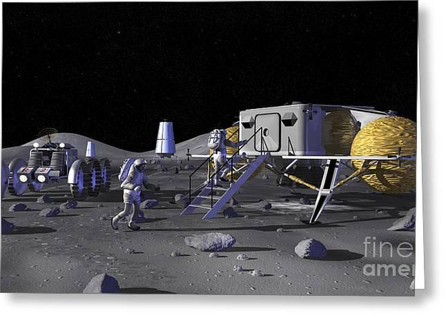 Moonwalk Digital Greeting Cards - Artists Rendering Of Future Space Greeting Card by Stocktrek Images