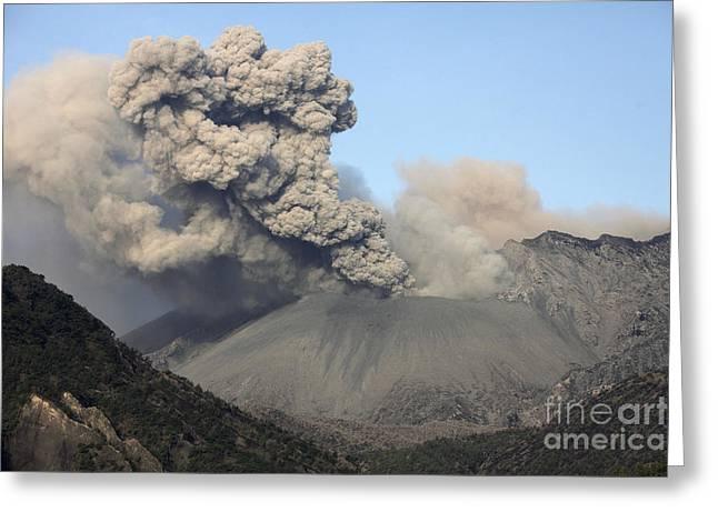 Catastrophe Greeting Cards - Ash Cloud Eruption From Sakurajima Greeting Card by Richard Roscoe
