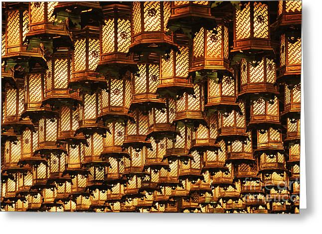 Miyajima Greeting Cards - Asian Lanterns Suspended from a Ceiling Greeting Card by Jeremy Woodhouse