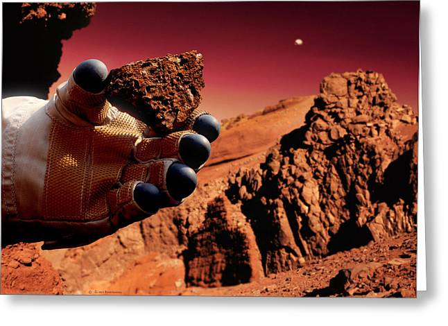 Phobos Greeting Cards - Astronaut Holds Martian Rock Greeting Card by Detlev Van Ravenswaay