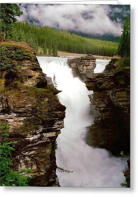 Dark Grey Greeting Cards - Athabasca Falls Greeting Card by Shirley Sirois