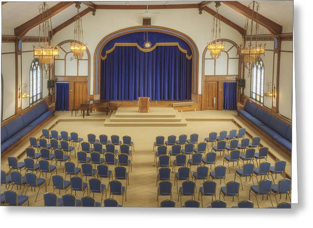 Residential Structure Greeting Cards - Auditorium With Blue Chairs And A Stage Greeting Card by Douglas Orton