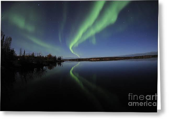 Aurora Borealis Over Long Lake Greeting Card by Jiri Hermann