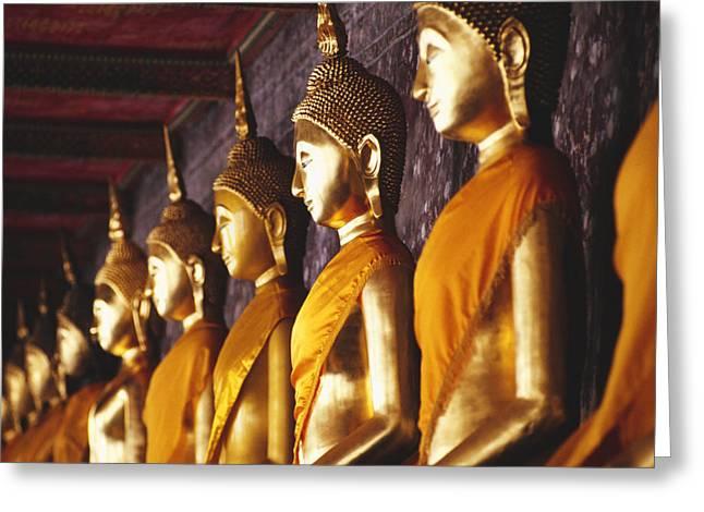 Ancestors Greeting Cards - Bangkok, Wat Suthat Greeting Card by Bill Brennan - Printscapes