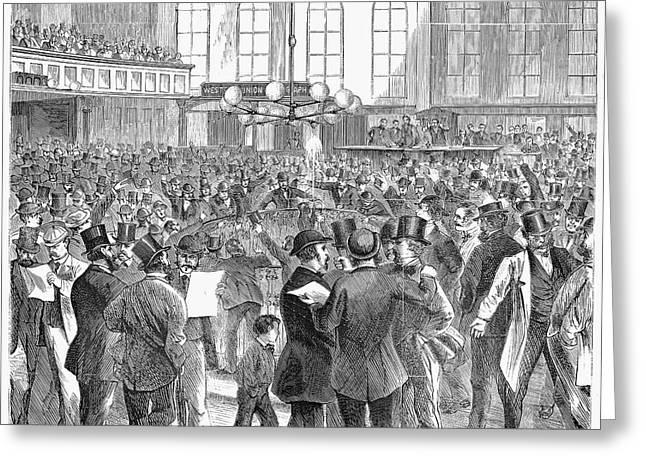 Bank Panic Greeting Cards - Bank Panic, 1869 Greeting Card by Granger