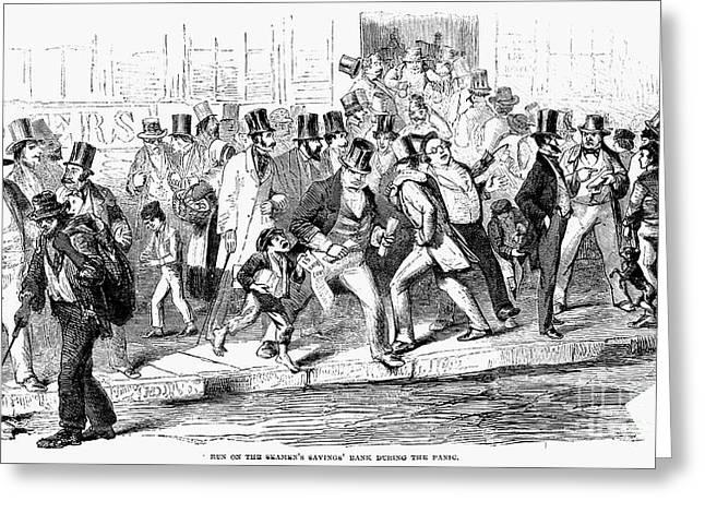 Bank Panic Greeting Cards - Bank Panic Of 1857 Greeting Card by Granger