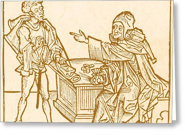 Bookkeeping Greeting Cards - Banker, 15th Century Greeting Card by Science Source