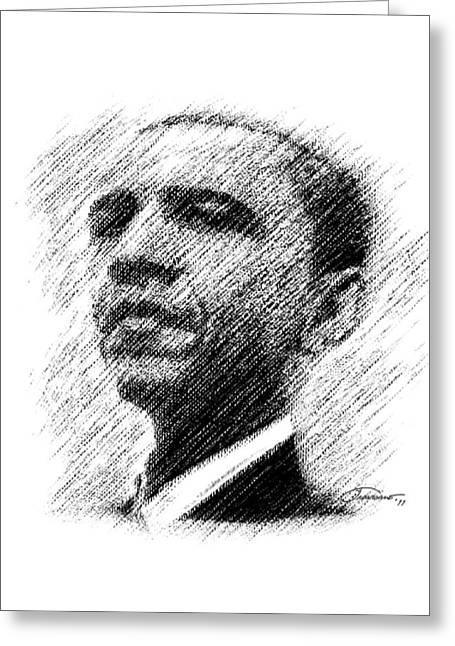 Barack Greeting Cards - Barack Obama Greeting Card by John Travisano