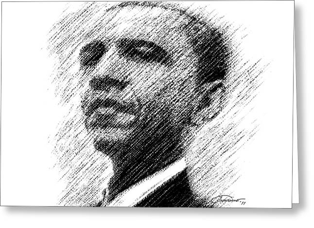 Barack Obama Greeting Card by John Travisano