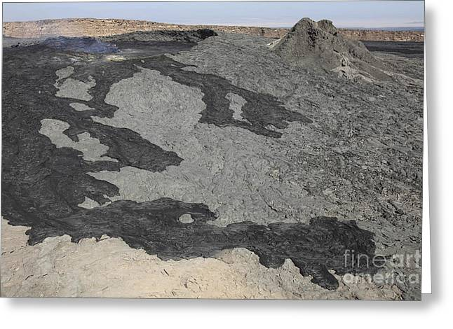 Rock Slope Greeting Cards - Basaltic Lava Flow From Pit Crater Greeting Card by Richard Roscoe