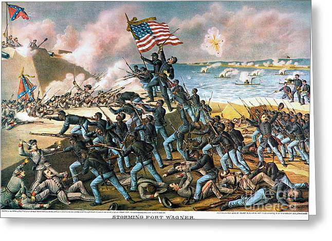 Confederate Flag Photographs Greeting Cards - Battle Of Fort Wagner, 1863 Greeting Card by Granger
