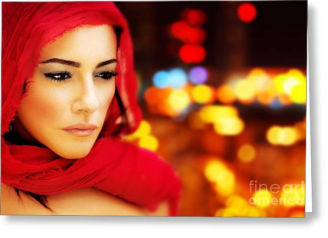 Abstract Hijab Greeting Cards - Beautiful arabic woman Greeting Card by Anna Omelchenko
