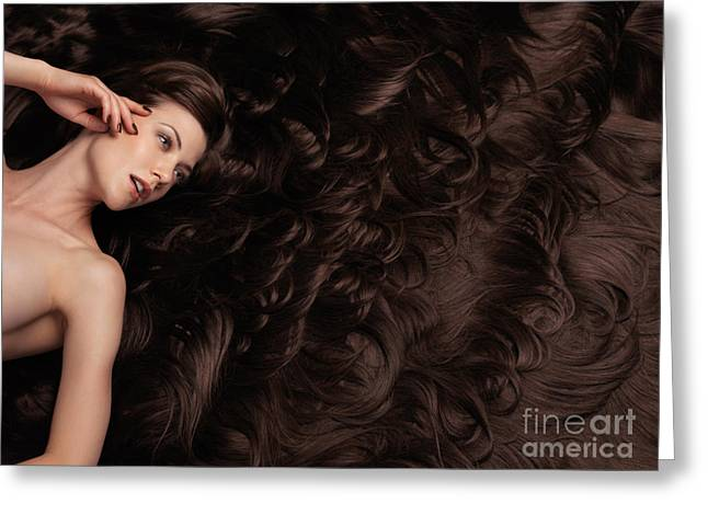Wavy Hair Greeting Cards - Beautiful Woman with Hair Extensions Greeting Card by Oleksiy Maksymenko