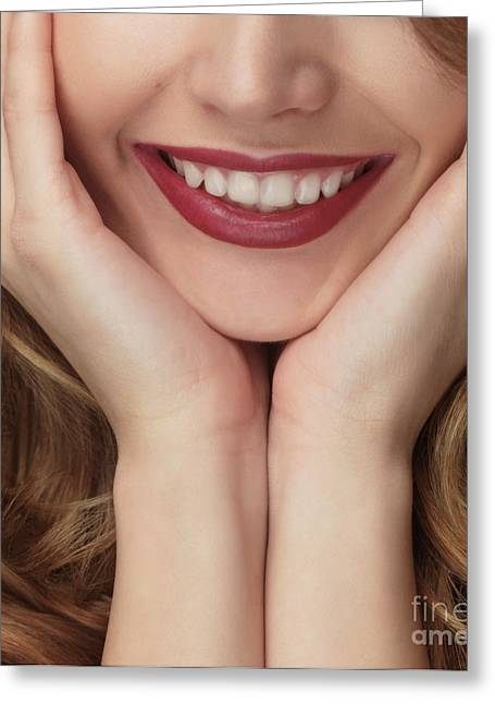 Chin Up Photographs Greeting Cards - Beautiful Young Smiling Woman Greeting Card by Oleksiy Maksymenko