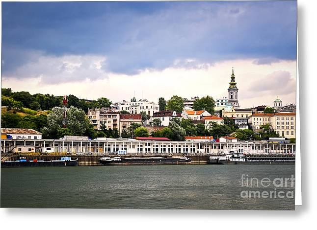 Clocktower Greeting Cards - Belgrade cityscape on Danube Greeting Card by Elena Elisseeva