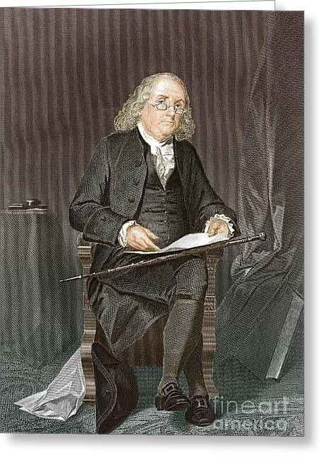Second Continental Congress Greeting Cards - Benjamin Franklin, American Polymath Greeting Card by New York Public Library
