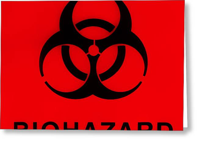 Harmful Greeting Cards - Biohazard Warning On Specimen Bag Greeting Card by Photo Researchers, Inc.