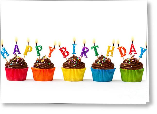 Chocolate Frosting Greeting Cards - Birthday cupcakes Greeting Card by Ruth Black