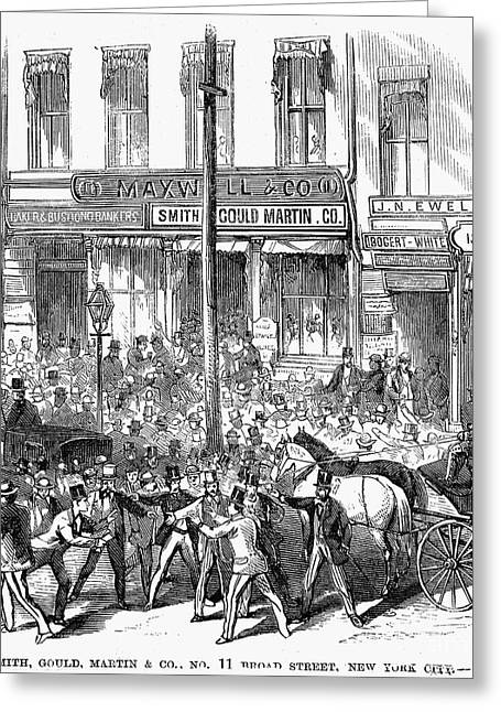 Bank Panic Greeting Cards - Black Friday, 1869 Greeting Card by Granger