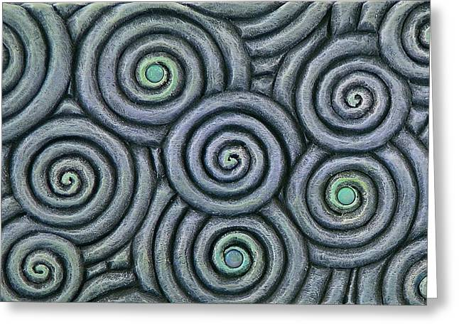 Vesery Sculptures Greeting Cards - Bleus En Spirale Greeting Card by Jacques Vesery