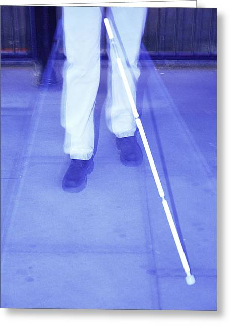 Impairment Greeting Cards - Blind Man Walking Greeting Card by Cristina Pedrazzini