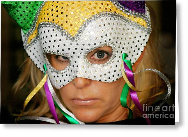 Blond Woman With Mask Greeting Card by Henrik Lehnerer