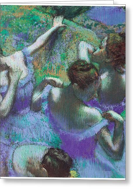 Blue Art Pastels Greeting Cards - Blue Dancers Greeting Card by Edgar Degas