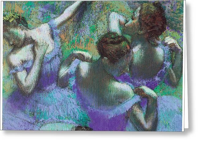 Blue Dancers Greeting Card by Edgar Degas