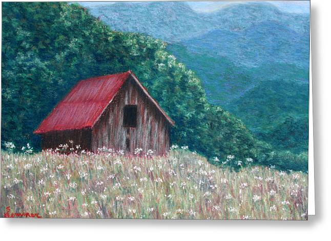 North Pastels Greeting Cards - Blue Ridge Barn Greeting Card by Sandy Hemmer