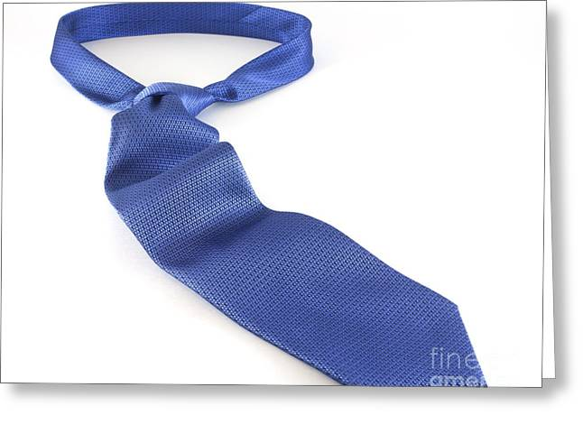 Collar Greeting Cards - Blue Tie Greeting Card by Blink Images