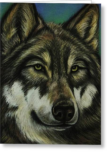 Wolf Pastels Greeting Cards - Blue Wolf Greeting Card by Lucy Deane