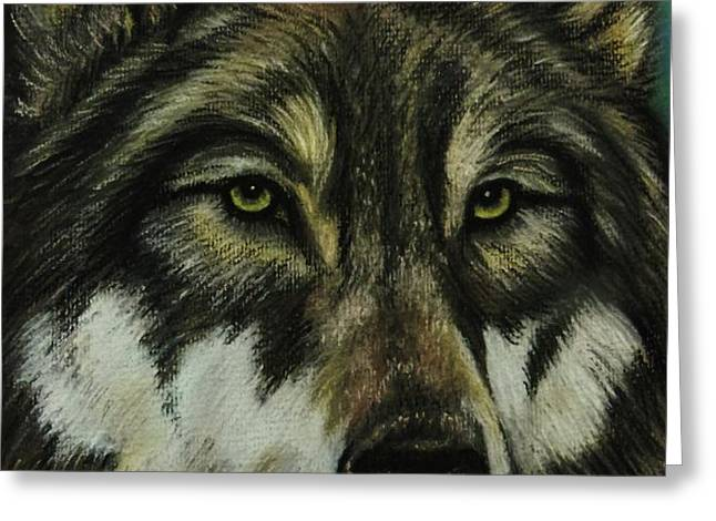 Blue Wolf Greeting Card by Lucy Deane