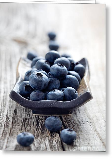 Wooden Bowl Greeting Cards - Blueberries Greeting Card by Kati Molin