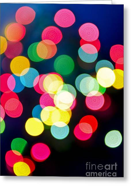 Vivid Colour Greeting Cards - Blurred Christmas lights Greeting Card by Elena Elisseeva