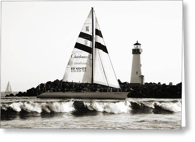 Best Sellers -  - Santa Cruz Sailboat Greeting Cards - 2 Boats Approach 2 Greeting Card by Marilyn Hunt