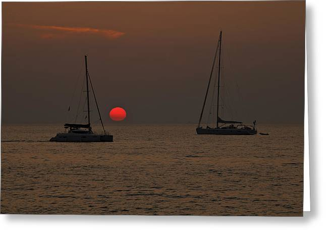 boats in the sunset Greeting Card by Joana Kruse