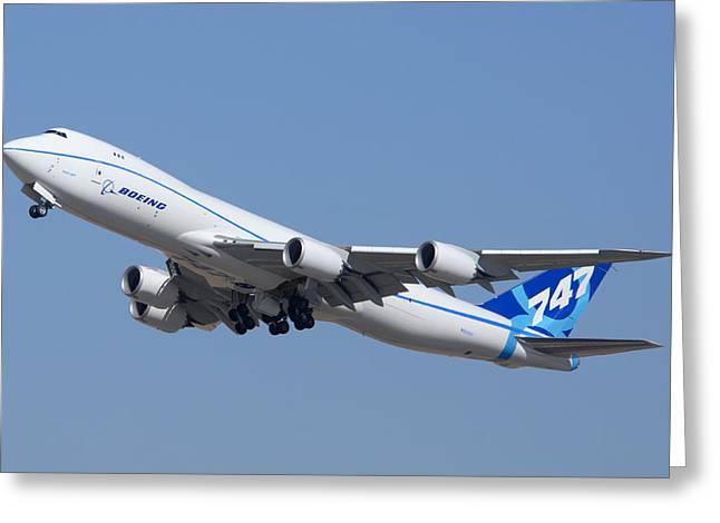 747 Greeting Cards - Boeing 747-8 N50217 at Phoenix-Mesa Gateway Airport Greeting Card by Brian Lockett
