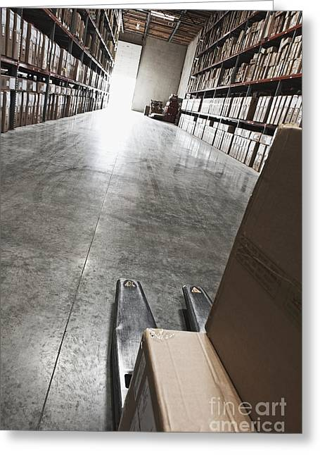 Boxes Of Material Stacked On Shelves Greeting Card by Jetta Productions, Inc