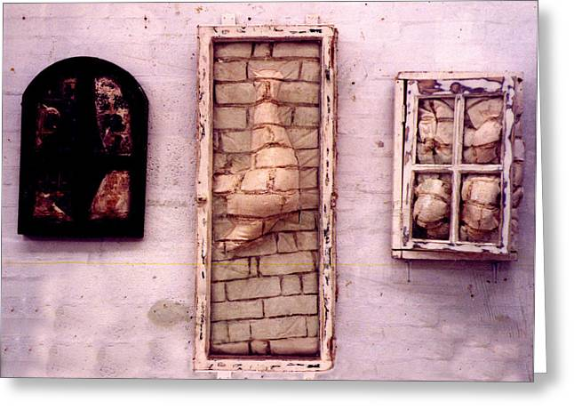 Brick Sculptures Greeting Cards - Bricks through windows Greeting Card by Simon Currell