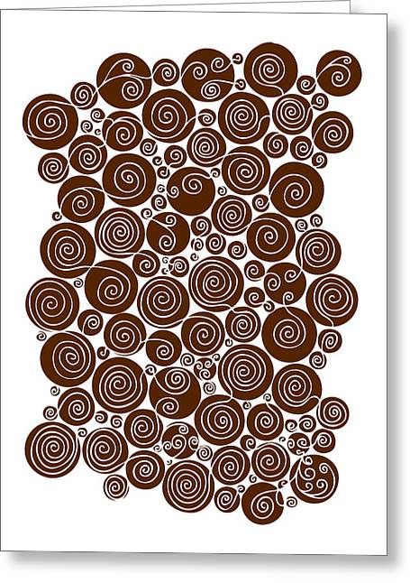 Irregular Greeting Cards - Brown Abstract Greeting Card by Frank Tschakert