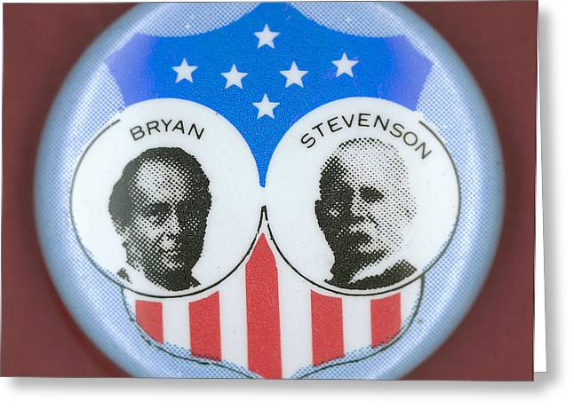 Recently Sold -  - Ewing Greeting Cards - Bryan Campaign Button Greeting Card by Granger