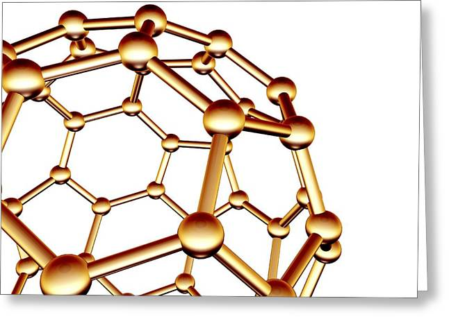 Truncated Greeting Cards - Buckminsterfullerene Molecule Greeting Card by Pasieka