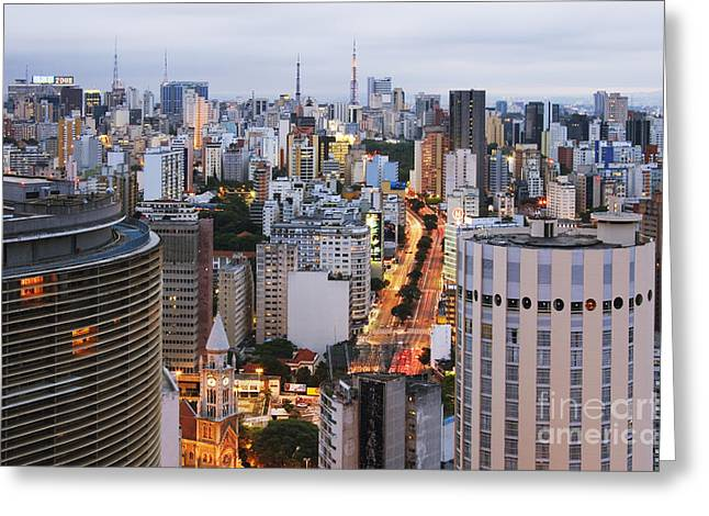 Office Space Photographs Greeting Cards - Buildings of Downtown Sao Paulo Greeting Card by Jeremy Woodhouse