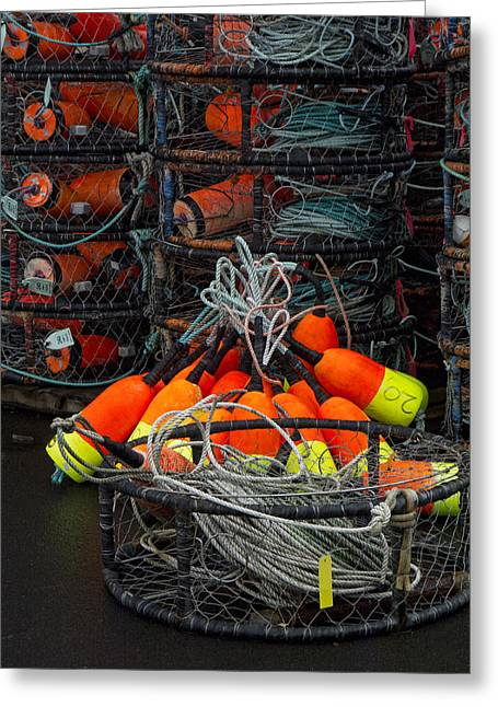 Crab Nets Greeting Cards - Buoys and Crabpots on the Oregon Coast Greeting Card by Carol Leigh